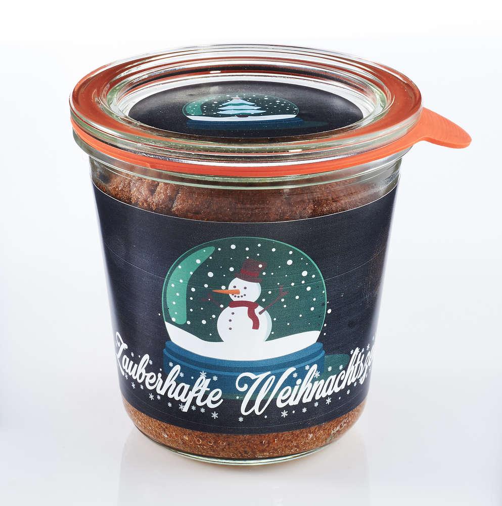 Weihnachten Schneekugel Kuchen im Glas 290ml nostalgisch